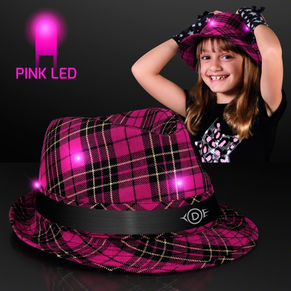 Light Up Pink Plaid Fashion Fedora for Kids & Teens