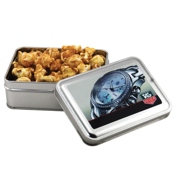Caramel Popcorn in a metal gift box with lid