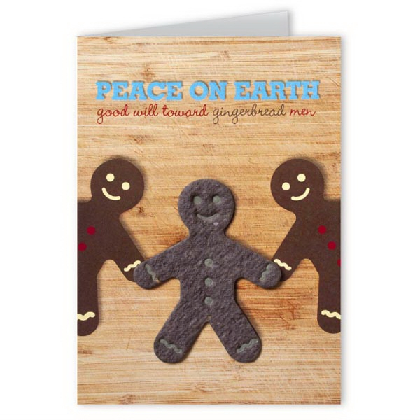 Peace On Earth Greeting Card with Gingerbread Person