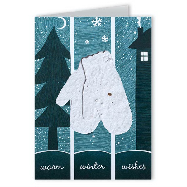 Warm Winter Wishes Greeting Card with Mittens