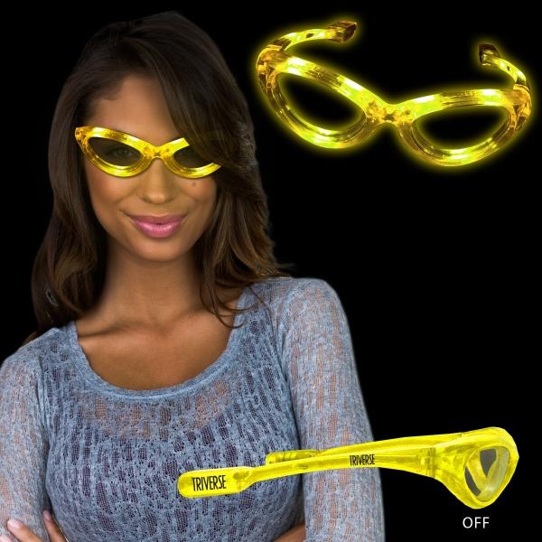 Yellow Light Up Flashing LED sunglasses