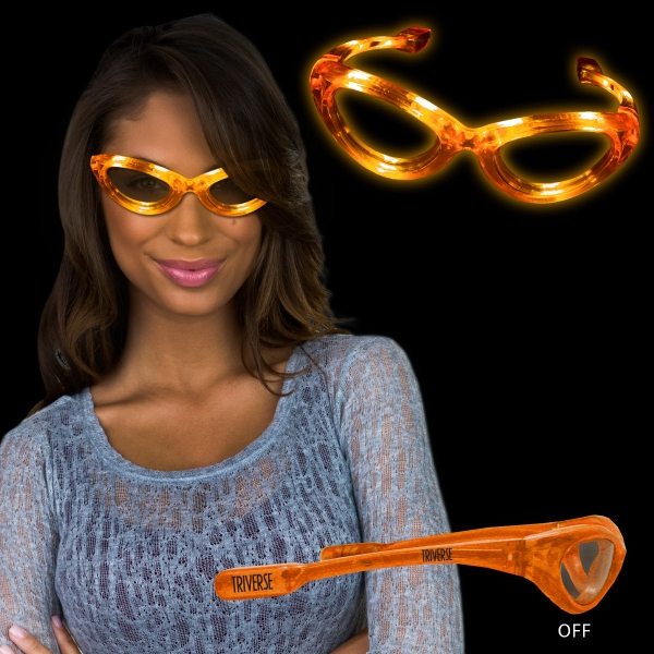 Orange Light Up Flashing LED Sunglasses