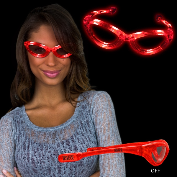 Red Light Up Glow Flashing LED Glasses