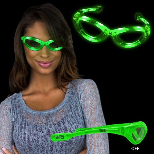 Green Light Up Glow Flashing LED Glasses
