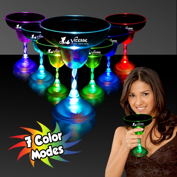 10 oz. Light Up Flashing MultiColor LED Glow Margarita Glass