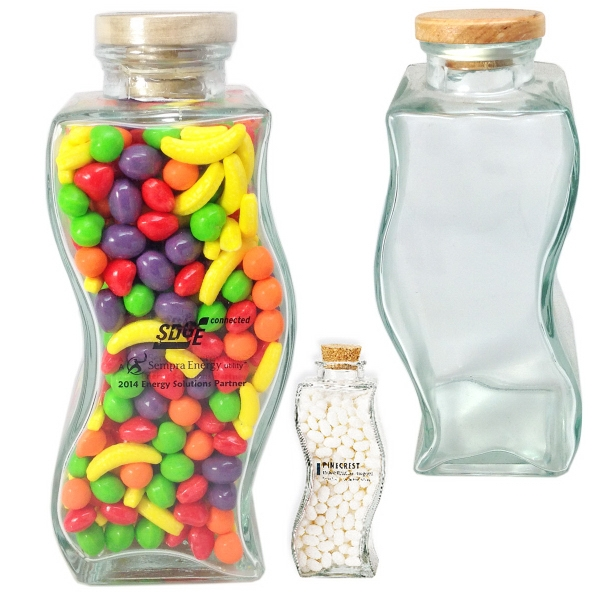 Wave Shape Glass Jar Large with Candy
