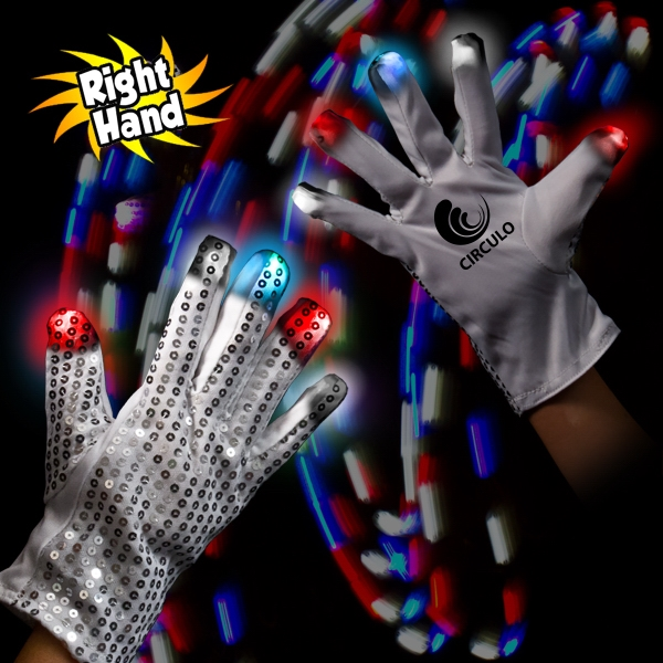 Patriotic LED Glow Light Up Rock Star Glove (Right Hand)