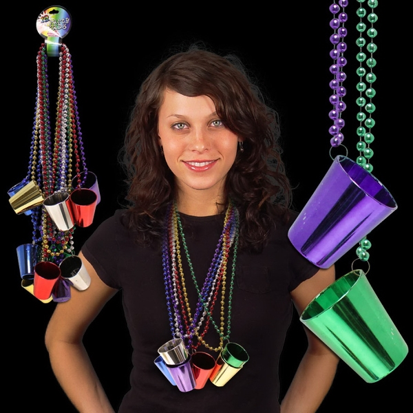 Mardi Gras Necklace with Shot Glass