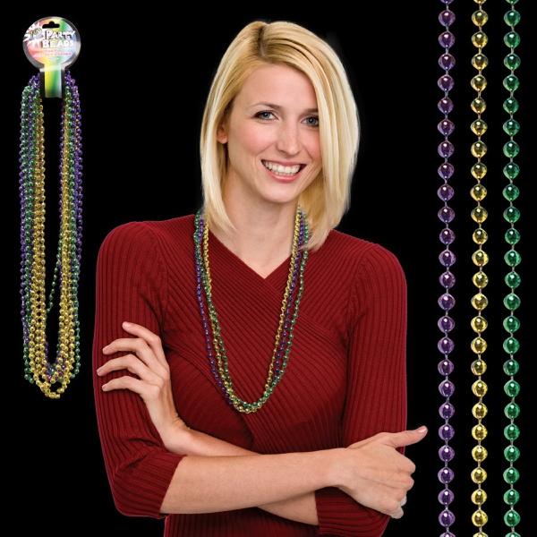 Round Bead Mardi Gras Necklace