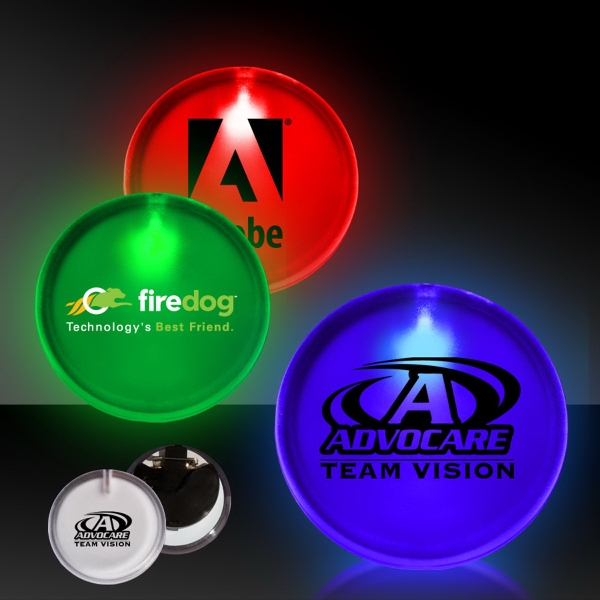 """2"""" Lighted Glow LED Button Pin Badge"""