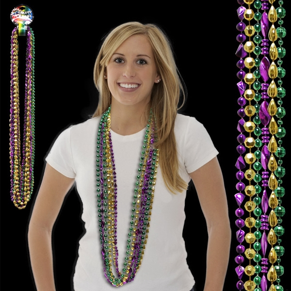 Football Bead Mardi Gras Necklace