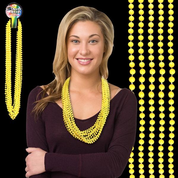 """Yellow Mardi Gras 33"""" Beads"""