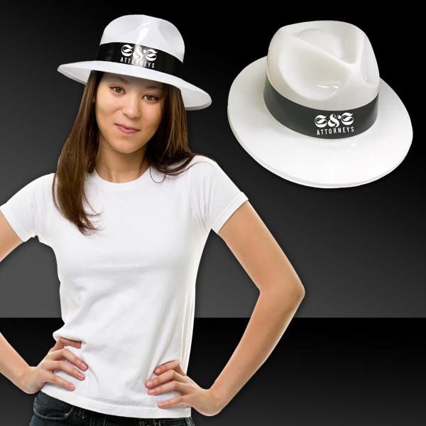 White Plastic Fedora Hat