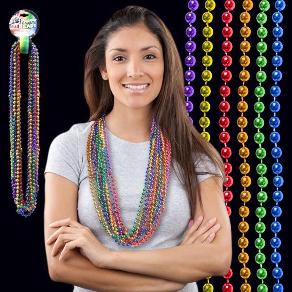 "33"" Rainbow (7mm) Segmented Mardi Gras Bead Necklace"