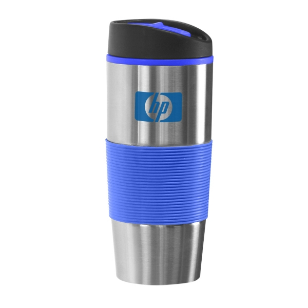 16 oz. RUBBER RIBBED SLEEVE TUMBLER