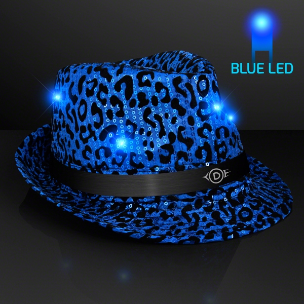 LED Blue Fedora Animal Print Party Hats