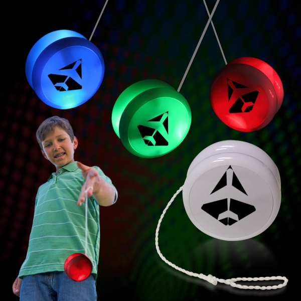 "2"" White Plastic Light Up YoYo with Blue Glow LEDs"