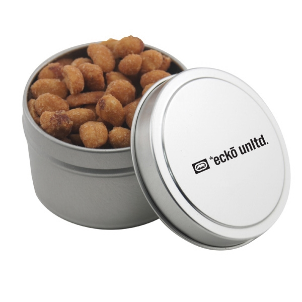 Round Metal Tin with Lid and Honey Roasted Peanuts