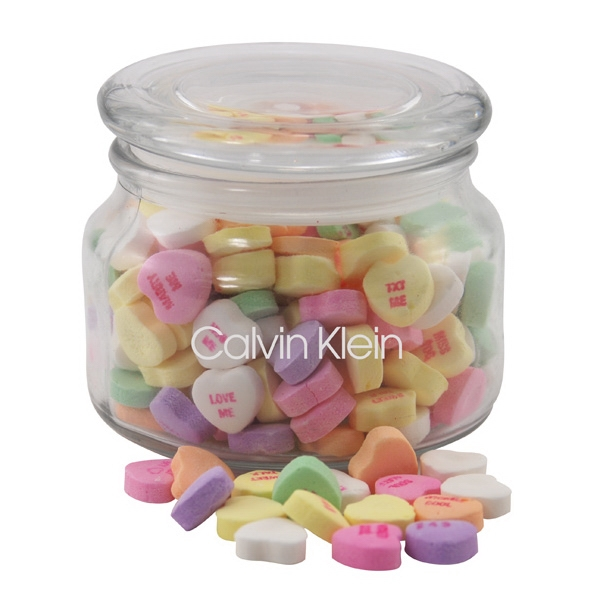 Conversation Hearts Candy in a Glass Jar with Lid