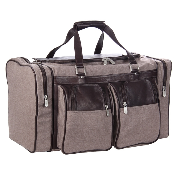 GENUINE LEATHER 20in DUFFEL BAG WITH POCKETS