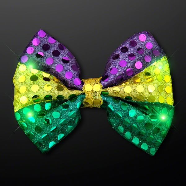 Sequin Mardi Gras Bow Tie with Jade LEDs