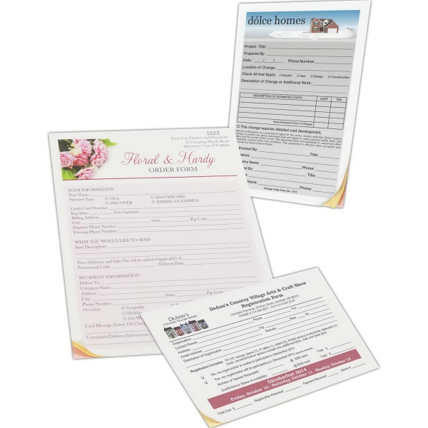 """Long Run Full Color Custom Forms - 8 1/2"""" x 11"""" - 8 1/2"""" x 11"""" large run full color business forms."""