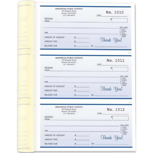 "Receipt Book - 6 1/2"" x 8 1/2"" - 2 or 3-part form receipt booklet, 3 receipts per page, 252 sets per book."