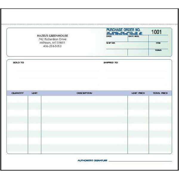 Snap set purchase order forms