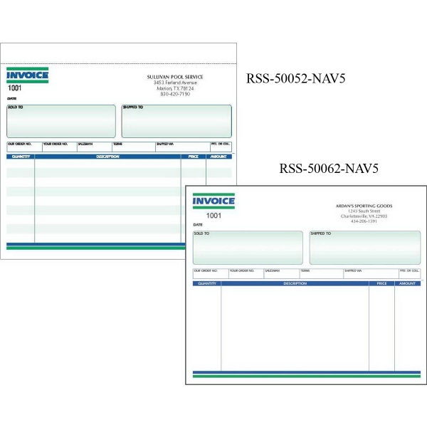 "Snap set invoice forms - Snap set 2-part invoice forms ( unruled), 8 1/2"" x 7""."