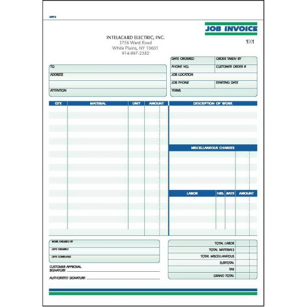 Snap set job invoice forms