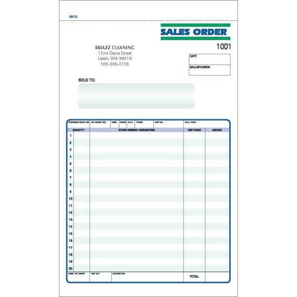 Snap set sales order forms