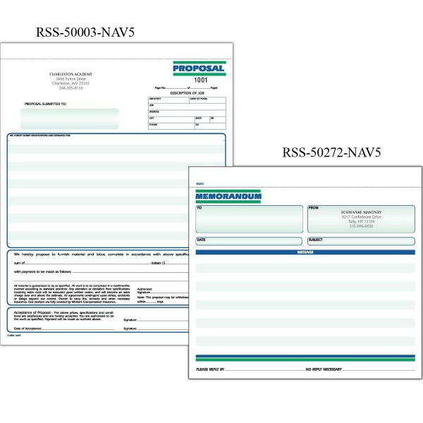 "Snap set proposal forms - Snap set 3-part proposal forms, 8 1/2"" x 11""."