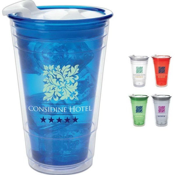 Double Wall Party Cup with Lid - 16 oz.