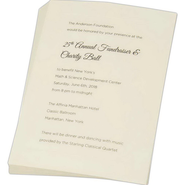 Announcements - standard vellum cards - 4 baronial  white vellum announcements non-panel trifold folders with business card carrier.