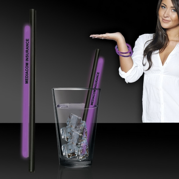 "Purple 9"" Light Up Glow Straw AND Bracelets"