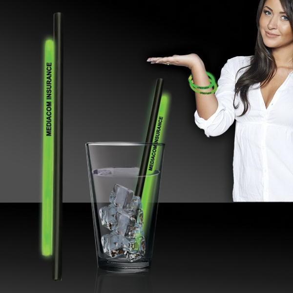 """Green 9"""" Light Up Glow Straw AND Bracelets - 9"""" light up glow straw bar accessories that comes with an attached 8"""" glow bracelet you can remove and wea"""