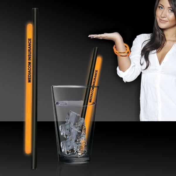 """Orange 9"""" Light Up Glow Straw AND Bracelet"""