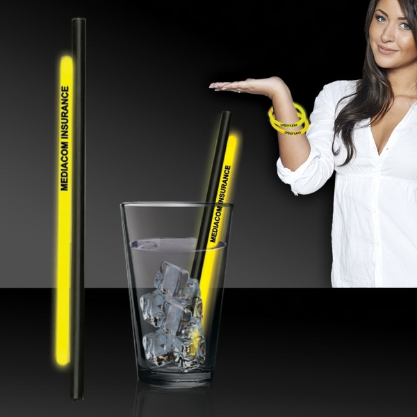 "Yellow 9"" Light Up Glow Straw AND Bracelets  - 9"" light up glow straw bar accessories that comes with an attached 8"" glow bracelet you can remove and wea"