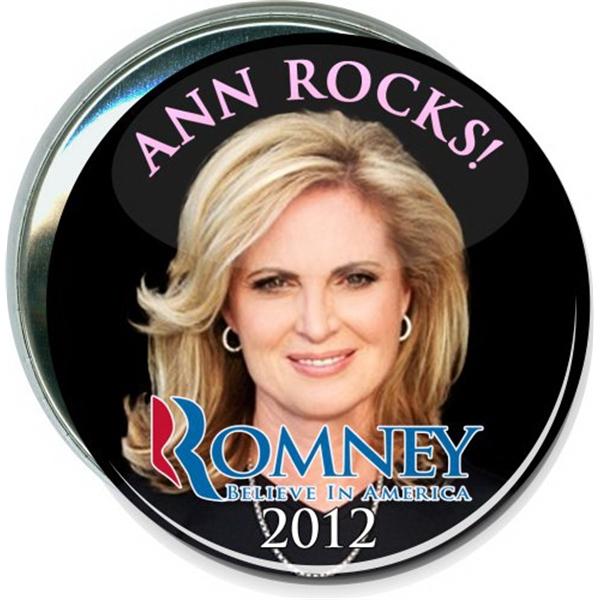Ann Rocks, Romney 2012, Black, Political Button