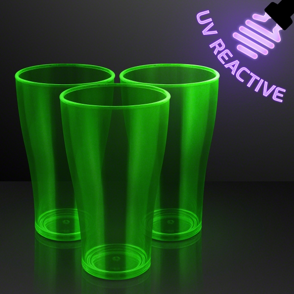 20 oz. Neon Green Glow Cups, Reacts to UV Light