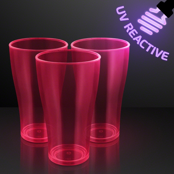 20 oz. Pink Glow Neon Cups, UV Reactive