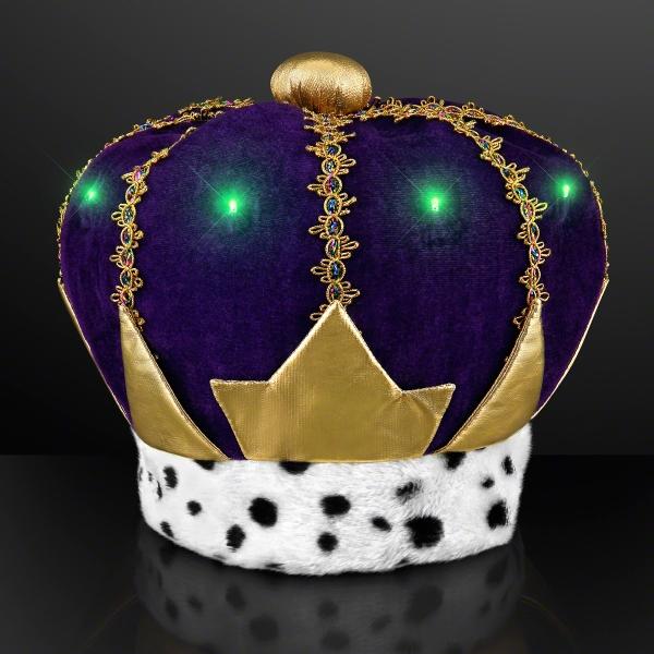 Light Up Mardi Gras King Crown Hat