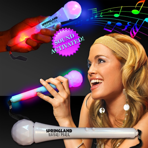 Sound Activated LED Microphones - Our white 9 inch plastic sound activated LED microphones are perfect for karaoke parties and more!