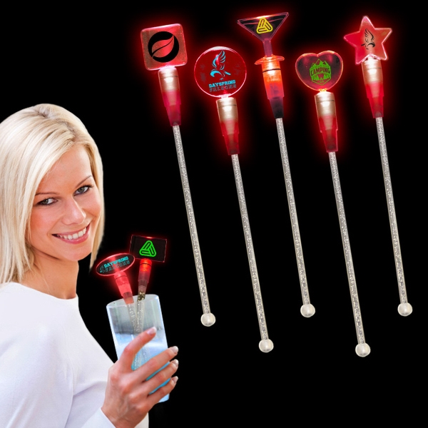 "Red 9"" Light Up Cocktail Stirrer"