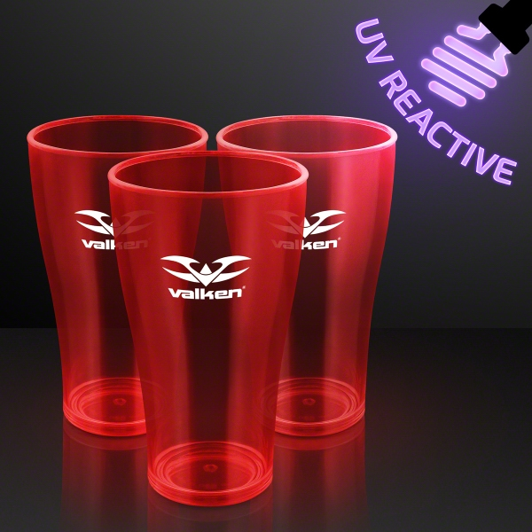 20 oz. Red Glow Cups, UV Reactive for Glow Parties