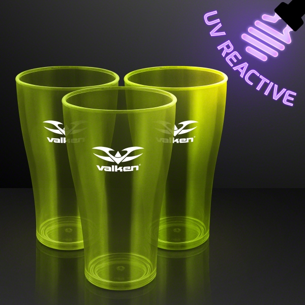 20 oz. Yellow Neon Glow Cup, Blacklight Reactive