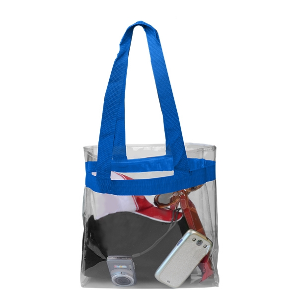 Field Open Tote - Field open tote bag, clear with color handles.