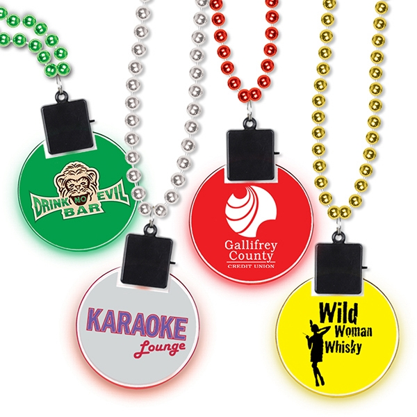 Beads w/ Clear Light-Up Medallion w/ Custom Printed Decal