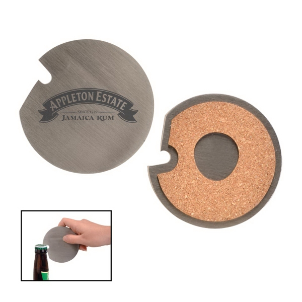Stainless Steel Coaster with Cork Base and Bottle Opener