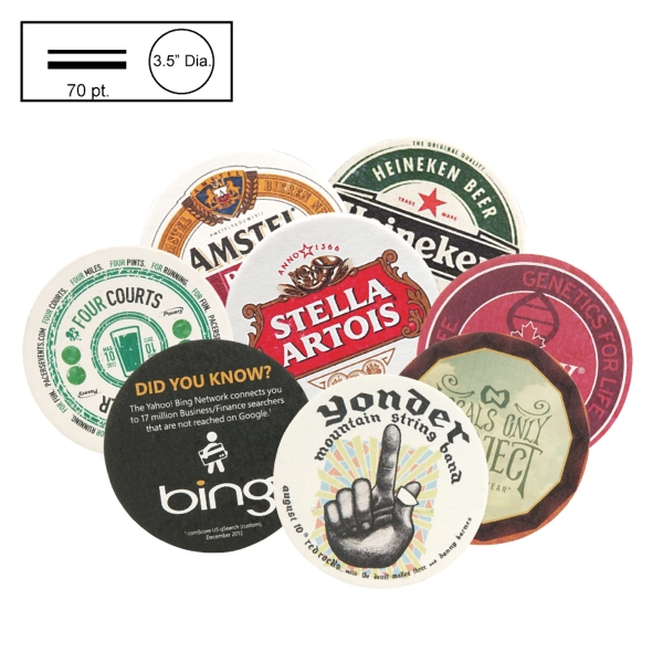 "3.5"" Circle Med Weight Pulpboard Coaster w/4 Color Process"